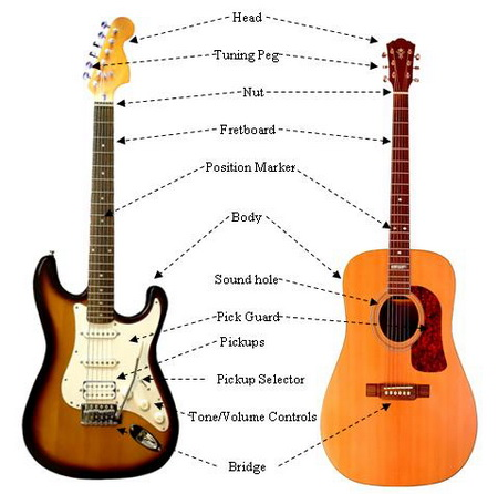 Parts to the electric and acoustic guitars